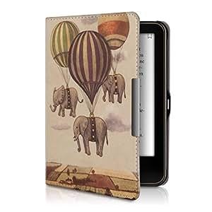 kwmobile Cover per Tolino Vision 1 / 2 / 3 / 4 HD - Custodia a libro per eReader - Copertina protettiva libro flip case Protezione per e-book reader Design elefanti volanti beige