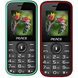 Peace P3 Green+ P3 Red Black COMBO OF TWO Mobile Phones With 1.8 Inch, Dual Sim, 850 MAh Battery, Wireless FM, Bluetooth, Digitel Camera, Call Recording, MP4, Internet & 1 Year Warranty