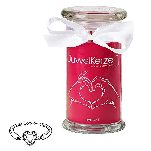 Dich - Kerze im Glas mit Schmuck - Große rote Duftkerze mit Überraschung als Geschenk für Sie (Silber Armband, Brenndauer: 90-120 Stunden) ()