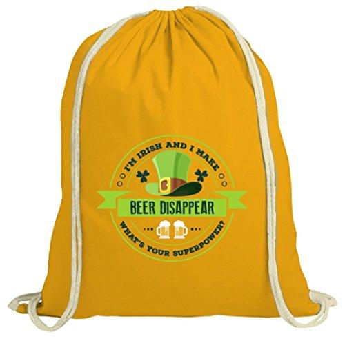 Saint Patrick´s Day St. Patricks Day natur Rucksack Turnbeutel I'm Irish And I Make Beer Disappear gelb natur