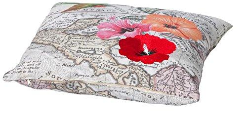 Madison 7PLL1-G066 Zierkissen Bahamas red, 50 x 50 cm, Baumwolle / Polyester, Blumendesign