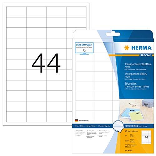 Herma 4680 Wetterfeste Folien-Etiketten transparent matt (48,3 x 25,4 mm) 1.100 Aufkleber, 25 Blatt DIN A4 Klebefolie, bedruckbar, selbstklebend