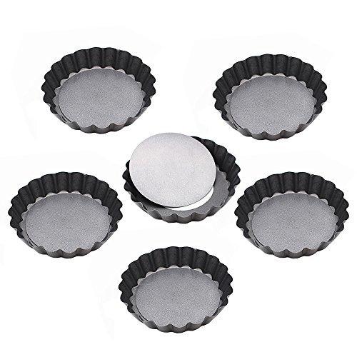 Kaptin 9,9cm quiche Fond Amovible casseroles, anti-adhésif Mini Poêles à tarte, Lot de 6