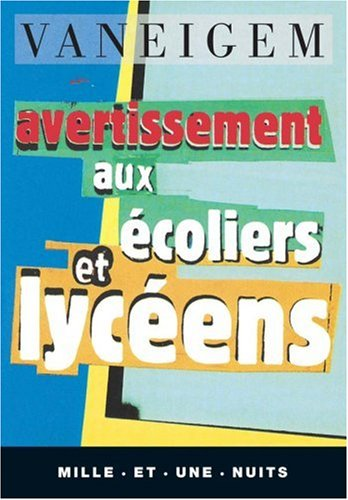 AVERTISSEMENT AUX ECOLIERS ET LYCEENS