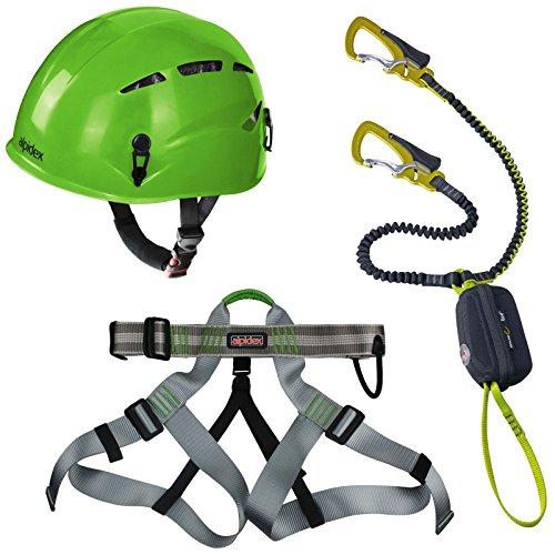 Preisvergleich Produktbild Alpidex Kletterhelm ARGALI apple green + Alpidex Klettergurt TAIPAN green pepper + Edelrid Klettersteigset Cable Vario