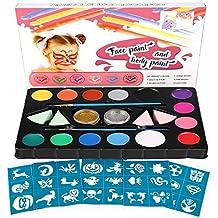 amzdeal Pintura Facial con 14 Colores Pintura Cara para la Fiesta Navidad Kit de Pintura Maquillaje