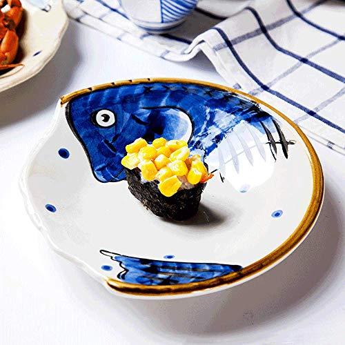 LI plaque- Assiette de salade en forme de 8 pouces Restaurant créatif Ensemble Assiette Cake Snack Personnalité Peint à la main En Céramique Vaisselle Ménage Plat tableware (Couleur : Bleu)