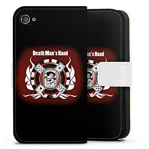 Apple iPhone X Silikon Hülle Case Schutzhülle Karten Totenkopf Poker Sideflip Tasche weiß