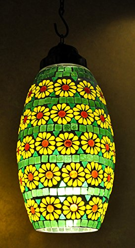 Designer Home Decorative Mosaic Glass Ceiling Lampshade Hanging Lamp 38 x 18 Cm