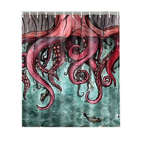 Eureya Duschvorhang für Badezimmer, 100% Polyester, dekorative Vorhänge, wasserdicht, schimmelfest, antibakteriell, mit 12 Haken, Sichtschutz für Zuhause und Hotel, Red Octopus, 150x180cm -