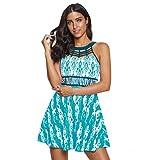 Auifor Las Mujeres de la Vendimia Plus tamaño de impresión Tankini Swimjupmsuit Beachwear del Traje de baño(Verde/Medium)