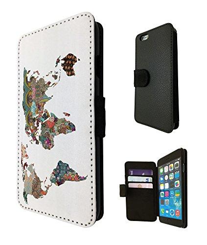 841-Color Full Tropical World Map Design Iphone 6/6S 4.7Fashion Trend TPU Étui de portefeuille en cuir carte Étui à rabat Book Wallet Credit Card Support Case