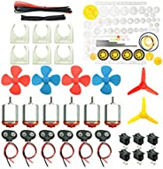 EUDAX 6 Set DC Motors Kit, Mini Electric Hobby Motor 3V -12V 25000 RPM Strong Magnetic with 86Pcs Plastic Gear