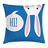 DANCENLI Rabbit Throw Pillow Cushion Cover, White Bunny Head Upside Down Speech Bubble Hi Print Blue Background, Decorative Square Accent Pillow Case, 18 X 18 inches, Azure Blue Blush Magenta