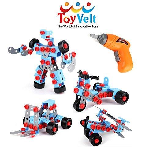 Zerlegen Educational Konstruction Enginieur mit ELEKTRISCHEM Spielzeug BOHRER Bau-Block-Set - für 3, 4 und 5+ Jahre alte Jungs und Mädchen. - Das beste Spielzeug Geschenk für Kinder im Alter von 3 bis 12 Jahren (Geschenke 4 Jungs)