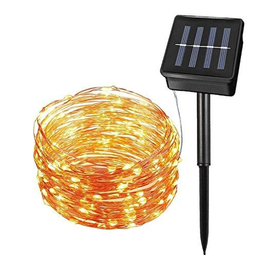 SHIYU Solarlichterkette, 33ft 100LEDs Solar Kupferdraht Lichterketten, 2 Modi mit Licht Sensor Wasserdichte Solarlicht für Aussen Garten Party Hochzeit Weihnachten Innen Außen Beleuchtung (Warmweiß)
