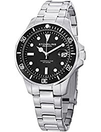 Stuhrling Original Regatta Aquadiver 664 Men's Quartz Watch with Black Dial Analogue Display and Silver Stainless Steel Bracelet 664.01