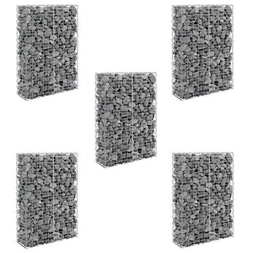 [pro.tec] 5 x Gabionen 150 x 100 x 30 cm Sparpaket Steingabionen Steinmauer Steinwand Spalier