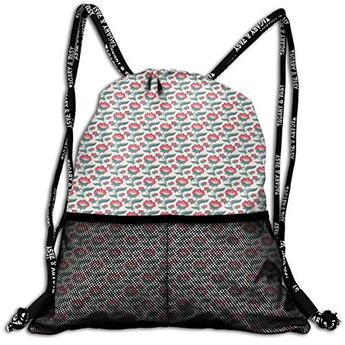 Little Giant Tank (RAINNY Drawstring Backpacks Bags,Jacobean Style Blooming Petals and Foliage Leaves Botanical Composition,5 Liter Capacity,Adjustable)