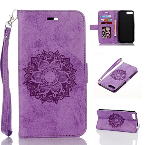Misteem Sonnenblume Mandala Hülle für iPod Touch 6/5, Schön Elegant Blumen Muster Leder Schutzhülle Stoßfest Flip Kartenhalter Magnet Ledertasche für Apple iPod Touch 5th / 6th - Lila - 5 Lila Ipod-touch-fall