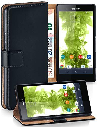 MoEx® Booklet mit Flip Funktion [360 Grad Voll-Schutz] für Sony Xperia Z Ultra | Geldfach & Kartenfach + Stand-Funktion & Magnet-Verschluss, Schwarz