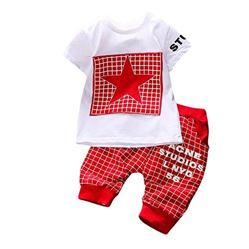 Baby Kleidung Set, erthome Jungen Mädchen Star Print Plaid Tops + Hosen Outfits Set (Rot, 0-6 Monate)