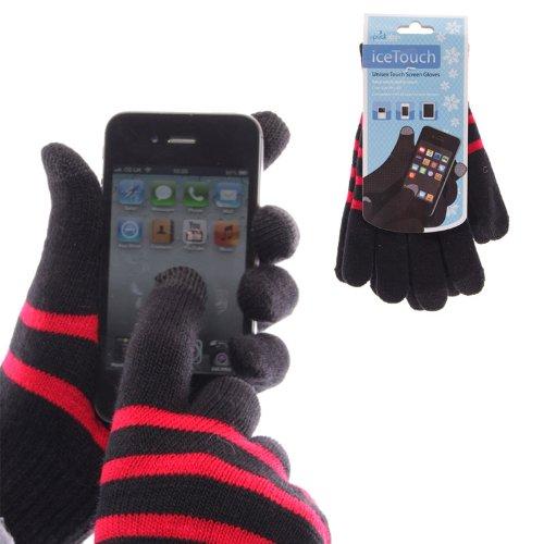 Guantes Táctil de hielo. Unisex guantes para pantalla táctil. Negro con raya roja Compatible con todos los dispositivos de pantalla táctil...