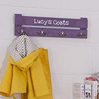 Kids Personalised Coat Rack - 4 Hooks - Colour Purple