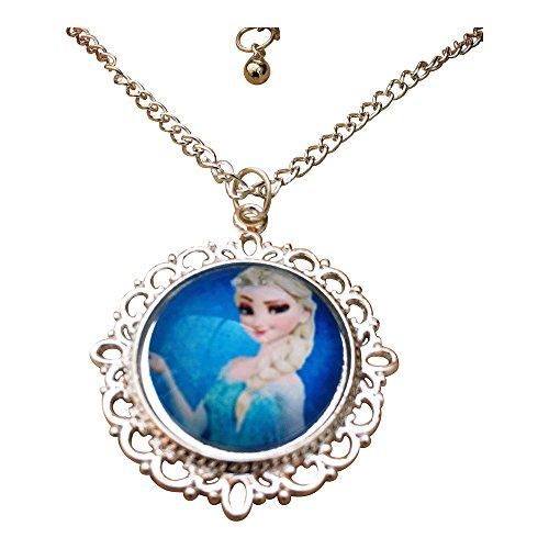 ' Prinzessin Elsa PortrŠt Glas Cabochon AnhŠnger Halskette mit 18