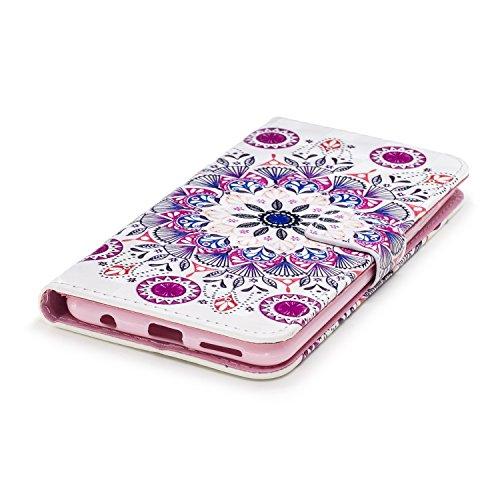 Surakey Compatible avec Coque Huawei Honor 7X Motif Relief Etui Housse Cuir PU Portefeuille Folio Flip Case Cover Wallet Coque Protection Étui pour Huawei Honor 7X (Mandala)