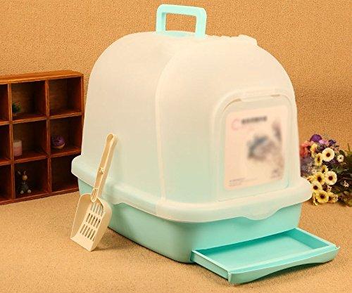 Pet Online Katzen toilette voll groß Neues design Greifer Schublade deodorant Splash cat Sand basin Schaufel geschlossen, 51 * 39 * 43,5 cm, grün - Deckel Greifer