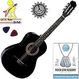 """Enfant 3/4taille (36"""") Cordes en nylon pour guitare acoustique classique Format 3/4 noir"""