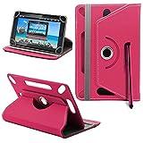 Lenovo Tab 2 A7-30 Neues Design Universelle um 360 Grad drehbare PU-Leder Designer bunte Hülle mit Standfunktion - Cover - Tasche - Rosa / Plain Pink Von Gadget Giant®