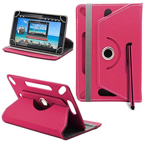 Tesco Hudl 2 Neues Design Universelle um 360 Grad drehbare PU-Leder Designer bunte Hülle mit Standfunktion - Cover - Tasche - Rosa / Plain Pink - Von Gadget Giant®