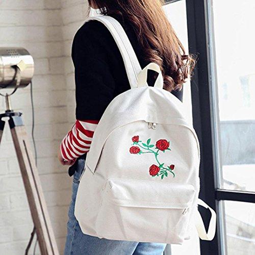 Rucksack damen Kolylong® Frauen Elegant Stickerei Rucksack Canvas Vintage Schultaschen für Mädchen Reise Rucksack Tasche Leisure Backpack Shopper School Bag Weiß