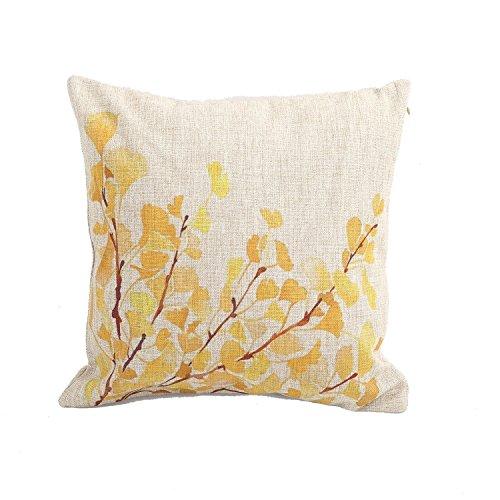 AAA + A Home Decor Baumwolle Leinen Quadratisch Kissenbezug Gelb Blumen Baum bedruckt Überwurf Kissen Sham Kissenbezug 45,7x 45,7cm (Stoff Sham)