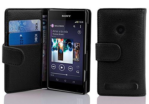 Cadorabo - Book Style Hülle für Sony Xperia E1 - Case Cover Schutzhülle Etui Tasche mit Kartenfach in OXID-SCHWARZ