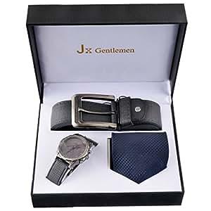 Souarts Herren Geschenkset mit Armbanduhr Geldbörse Gürtel