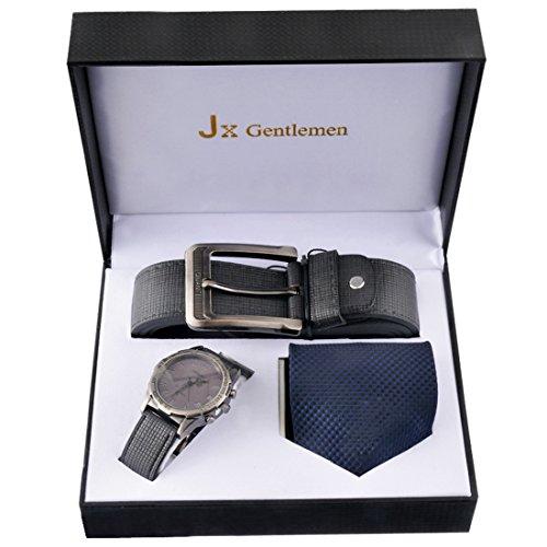 Souarts Herren Geschenkset mit Armbanduhr Geldbörse Gürtel Geschenkset für Herren Schwarz (mit Krawatte) (Krawatte, Geldbörse)