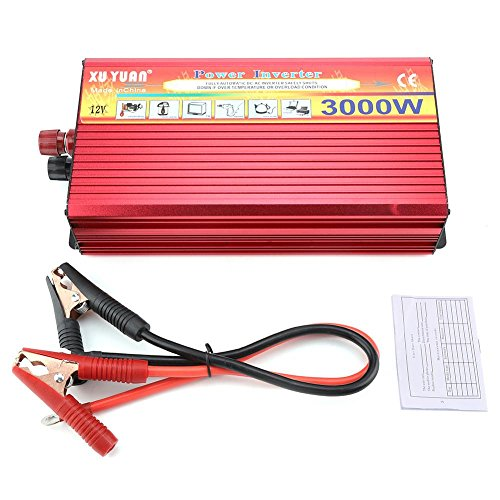Fdit AC 110 V DC 12 V 3000 W LED Digital Power Wechselrichter Sinusoid Auto Konverter für Laptop Tablet Telefon, Rot -
