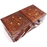 Craftland Wooden Jewellery Box (Brass n Carving) for Women/Girls Flip Flap Handmade Gift, 8 Inches …