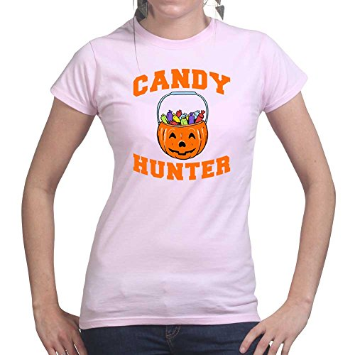 Womens Candy Hunter Halloween Pumpkin Costume Ladies T Shirt (Tee, Top) Pink