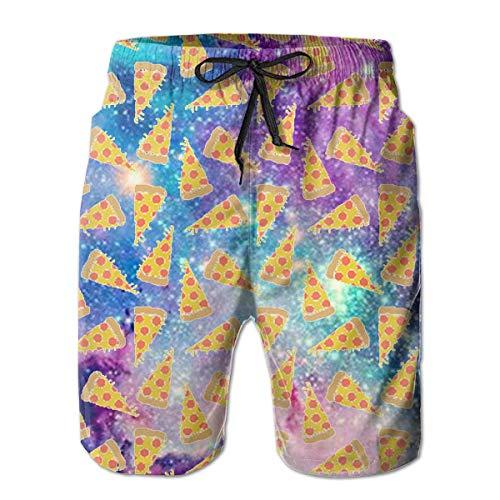 DLing Badehose für Herren Space Pizza Quick Dry Beach Board Shorts,XXL