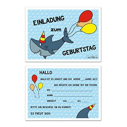 Kindergeburtstag Hai Einladungskarten Jungen Geburtstag Einladung Geburtstagseinladung Kinder Haifisch - Set zu 10 Stück - Illustration - 14,8 x 10,5 cm