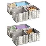 mDesign Set da 6 Organizer armadio – Ideali come organizer cassetti – Portabiancheria in tessuto traspirante – grigio talpa/beige