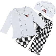 iEFiEL Conjuntos de Cocinero para Bebé Niña Camiseta de Larga Marga + Pantalones + Gorro Infantil