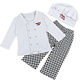 iEFiEL Conjuntos Disfraces de Cocinero Fiesta Bautizo para Bebé Niña Niño Camiseta + Pantalones + Gorro Infantil Blanco 18-24 Meses