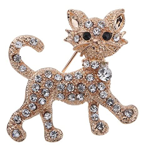 Yazilind Jewelry Pretty Gold Plated Full Shining Clear Crystal Cat Brooches and Pins Wedding for Women Gift