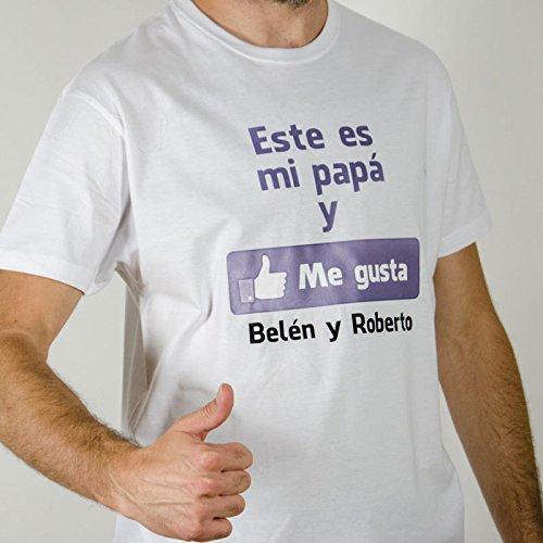 Regalo para padres por su cumpleaños, Navidad o el Día del Padre: camiseta personalizada blanca 'Me gusta' con su nombre y el de sus hijos en varias tallas