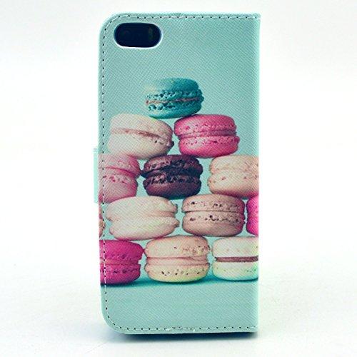Meet de Folio Apple iPhone SE Case ,Wallet flip étui en cuir / Pouch / Case / Holster / Wallet / Case pour Apple iPhone SE PU Housse / en cuir Wallet Style de couverture de cas Coque pour téléphone po AA005